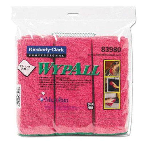 WypAll* Cloths with Microban, Microfiber, 15 3/4 x 15 3/4, Red, 6/PK, 4 PK/CT (KCC 83980)