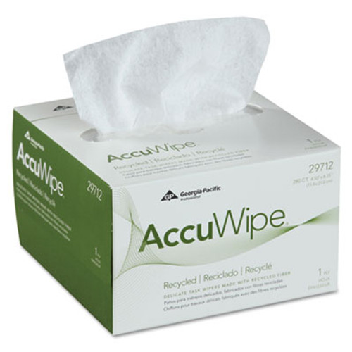 Georgia Pacific Professional AccuWipe Recycled One-Ply Delicate Task Wipers  4 1 2 x 8 1 4  White  280 Box (GPC 297-12)