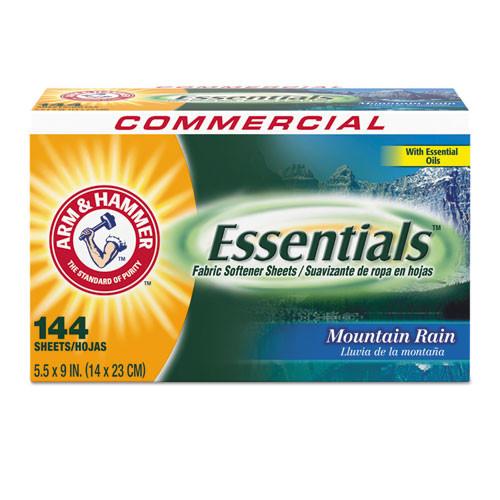 Arm & Hammer Essentials Dryer Sheets  Mountain Rain  144 Sheets Box  6 Boxes Carton (CDC 33200-14995)