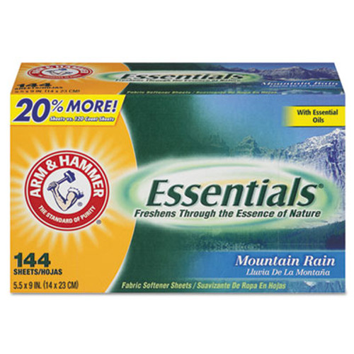 Arm & Hammer Essentials Dryer Sheets  Mountain Rain  144 Sheets Box  6 Boxes Carton (CDC 33200-14995)