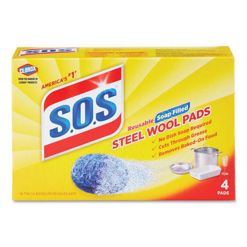 S.O.S. Steel Wool Soap Pad  4 Box  24 Boxes Carton (CLO 98041)