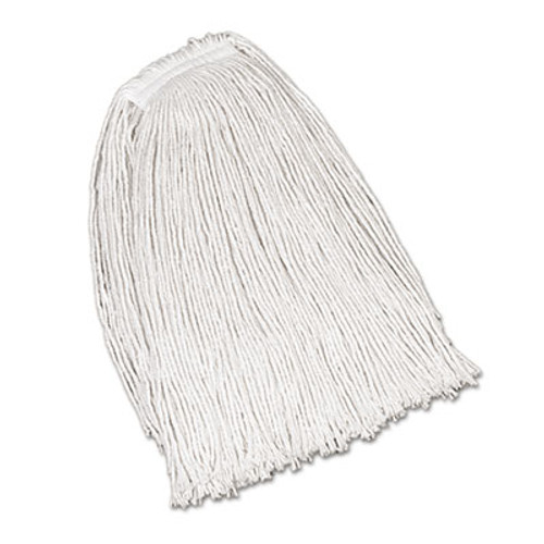 Rubbermaid Commercial Economy Cotton Mop Heads, Cut-End, Ctn, WH, 32 oz, 1-in. White Headband, 12/CT (RCP V119)