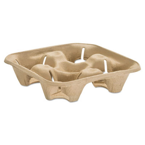 Chinet StrongHolder Molded Fiber Cup Tray, 8-32oz, Four Cups, 150/Pack, 2 Packs/Carton (HUH 20938)