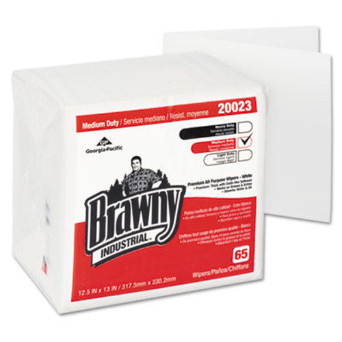 Georgia Pacific Professional Brawny Industrial Medium Duty DRC Wipers  Quarterfold  12 1 2 x 13  White  65 PK (GPC 200-23)