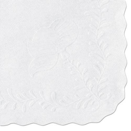 Hoffmaster Anniversary Embossed Scalloped Edge Tray Mat  14 x 19  White  1 000 Carton (HFM TC8704472)