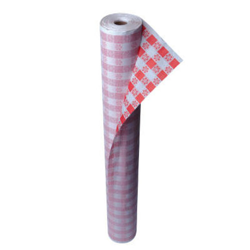 "Kurly Kate Paper Table Cover, 40"" x 300ft, Red Gingham (LRP 91-0105)"