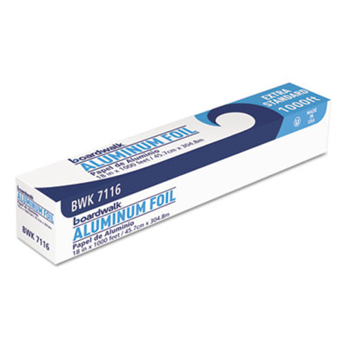 "Boardwalk Premium Quality Aluminum Foil Roll, 18"" x 1000 ft, 16 Micron Thickness, Silver (BWK 7116)"