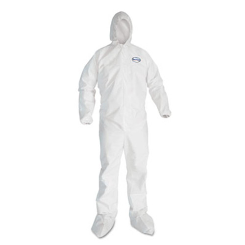 KleenGuard* A40 Elastic-Cuff Hood & Boot Coveralls, White, 3X-Large, 25/Carton (KCC 44336)