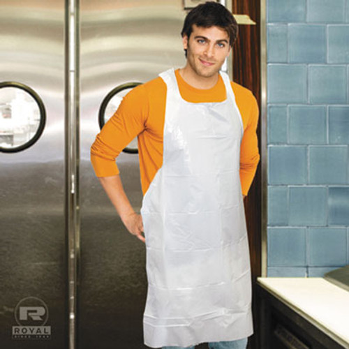 AmerCareRoyal Poly Apron  White  28 in  x 46 in   100 Pack  One Size Fits All  10 Pack Carton (RPP DA2846)