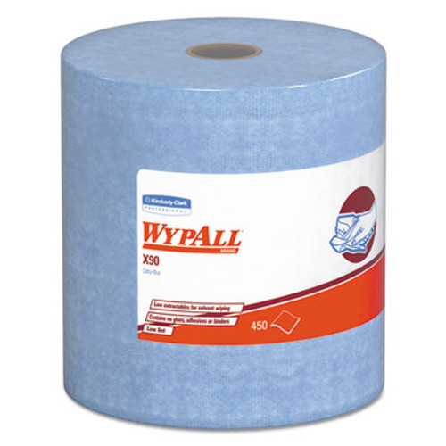 WypAll* X90 Cloths, Jumbo Roll, 11 1/10 x 13 2/5, Denim Blue, 450/Roll, 1 Roll/Carton (KCC 12889)