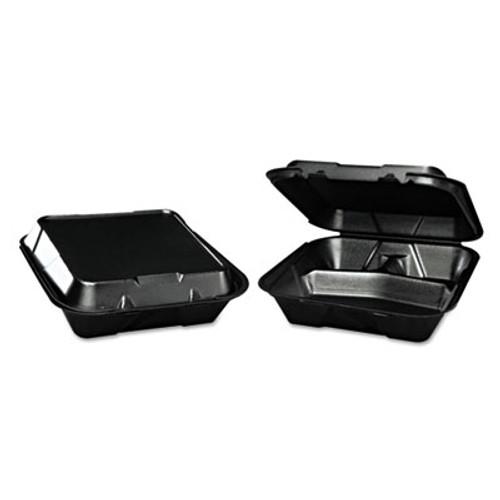 Genpak Snap-It Foam Hinged Container  3-Compartment  9-1 4x9-1 4x3  Black  200 Carton (GNP SN203BK)
