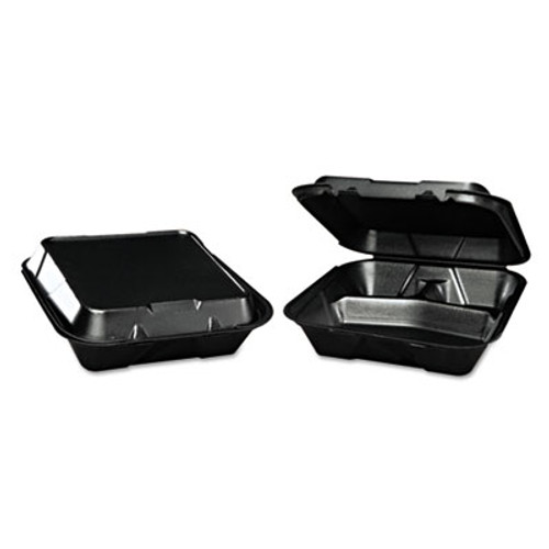 Genpak Snap-It Foam Hinged Container  3-Compartment  9-1 4x9-1 4x3  Black  200 Carton (GNP SN203BK)