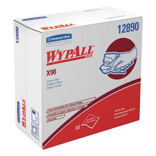 WypAll X90 Cloths  POP-UP Box  8 3 10 x 16 4 5  Denim Blue  68 Box  5 Boxes Carton (KCC 12890)