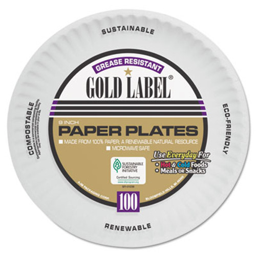 AJM Packaging Corporation Coated Paper Plates  9 Inches  White  Round  100 Pack (AJMCP9GOAWH)