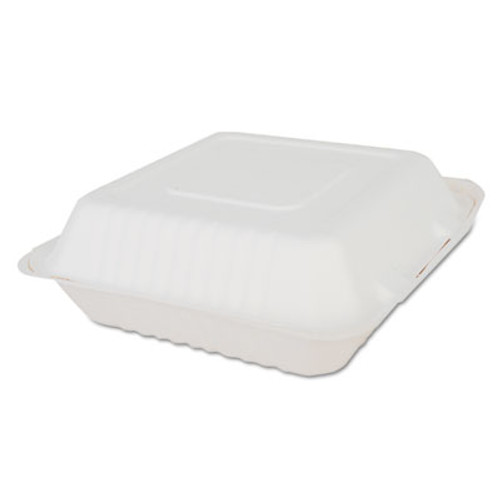 SCT ChampWare Molded-Fiber Clamshell Containers  9w x 9d x 3h  White  200 Carton (SCH 18935)