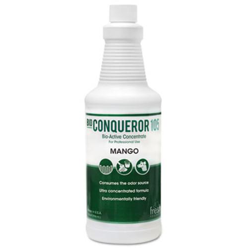Fresh Products Bio Conqueror 105 Enzymatic Odor Counteractant Concentrate  Mango  32 oz  12 Carton (FRS 12-32BWB-MG)