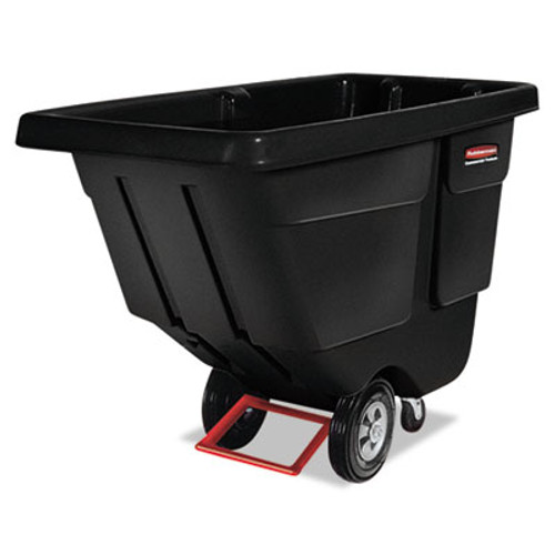 Rubbermaid Commercial Rotomolded Tilt Truck, Rectangular, Plastic, 450-lb Cap., Black (RCP 1304 BLA)