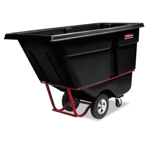 Rubbermaid Commercial Rotomolded Tilt Truck, Rectangular, Plastic, 1400-lb Cap., Black (RCP 1306 BLA)