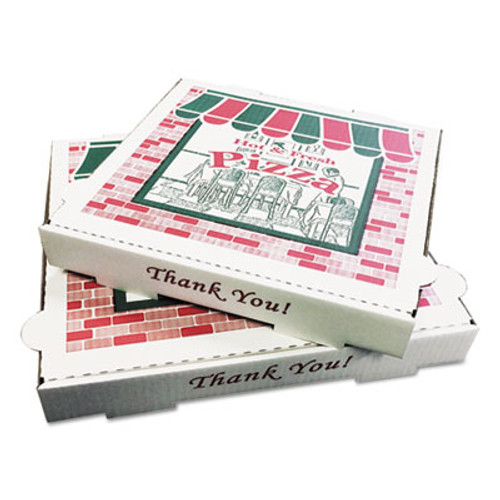 PIZZA Box Takeout Containers, 10in Pizza, White, 10w x 10d x 1 3/4h, 50/Carton (BOX PZCORB10)