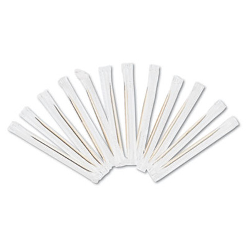 AmerCareRoyal Cello-Wrapped Round Wood Toothpicks  2 1 2   Natural  1000 Box  15 Boxes Carton (RPP RIW15)