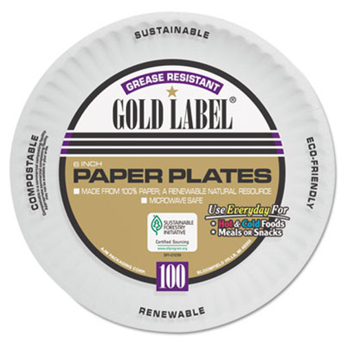 AJM Packaging Corporation Coated Paper Plates  6 Inches  White  Round  100 Pack (AJMCP6GOAWH)