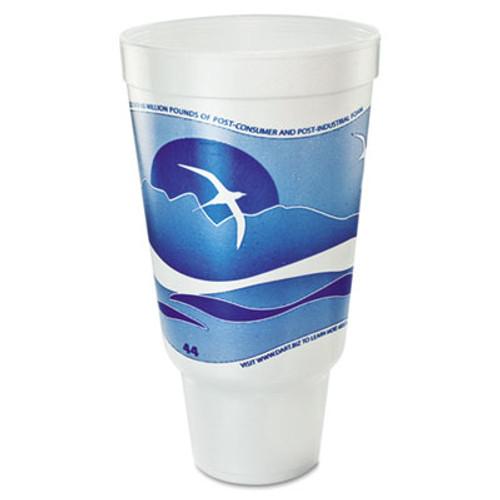 Dart Horizon Flush Fill Foam Cup  Hot Cold  44 oz   Ocean Blue White  15 Bag (DCC 44AJ32H)
