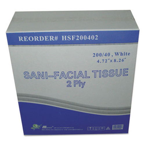 GEN Sani Facial Tissue, 2-Ply, White, 40 Sheets/Box (GEN HSF200402)