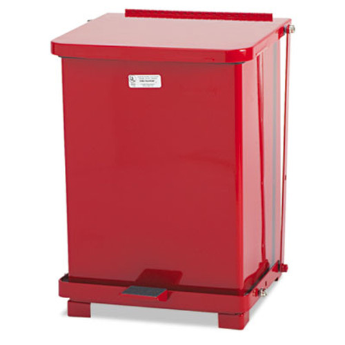 Rubbermaid Commercial Defenders Biohazard Step Can, Square, Steel, 7 gal, Red (RCP ST7EPLRED)