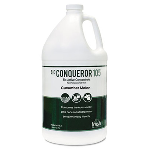 Fresh Products Bio Conqueror 105 Enzymatic Odor Counteractant Concentrate  Cucumber Melon  1 gal  4 Carton (FRS 1-BWB-CM-F)
