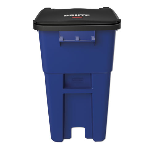 Rubbermaid Commercial Brute Rollout Container  Square  Plastic  50 gal  Blue (RCP 9W27 BLU)