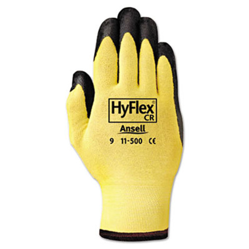 AnsellPro HyFlex Ultra Lightweight Assembly Gloves  Black Yellow  Size 10  12 Pairs (ANS1150010)
