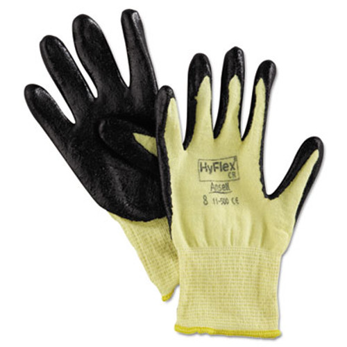 AnsellPro HyFlex 500 Light-Dty Gloves  Size 8  Kevlar Nitrile  Yellow Black  12 Pairs (ANS115008)