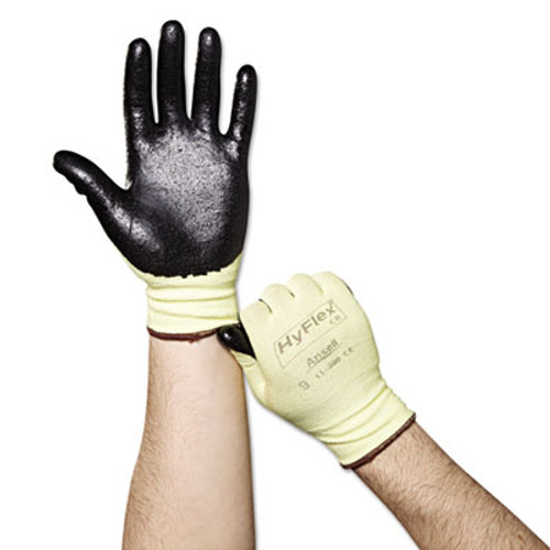 AnsellPro HyFlex Ultra Lightweight Assembly Gloves  Black Yellow  Size 9  12 Pairs (ANS115009)