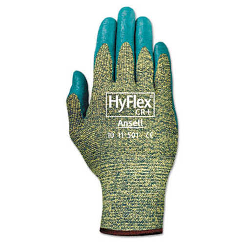 AnsellPro HyFlex 501 Medium-Duty Gloves  Size 8  Kevlar Nitrile  Blue Green  12 Pairs (ANS115018)