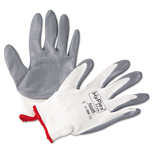 AnsellPro HyFlex Foam Gloves  White Gray  Size 7  12 Pairs (ANS118007)