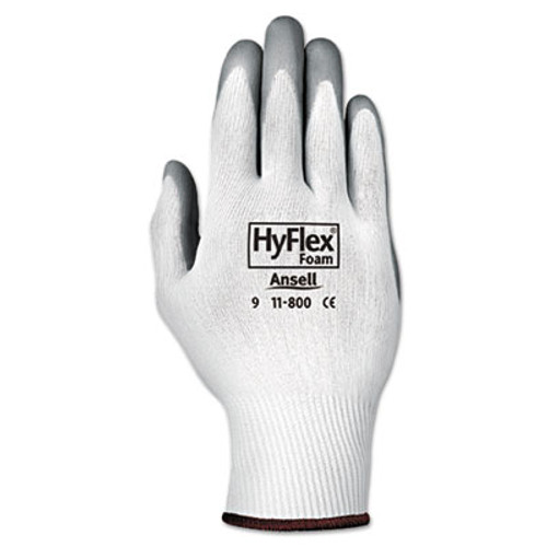 AnsellPro HyFlex Foam Gloves  White Gray  Size 8  12 Pairs (ANS118008)