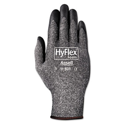 AnsellPro HyFlex Foam Gloves  Dark Gray Black  Size 10  12 Pairs (ANS1180110)