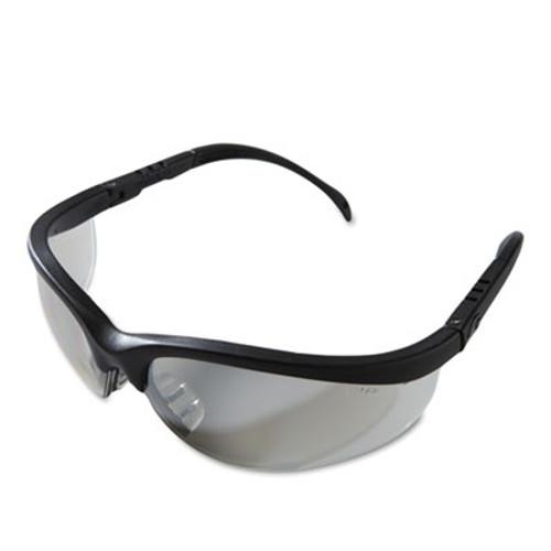 Crews Klondike Safety Glasses, Black Matte Frame, Clear Mirror Lens (CWS KD119)