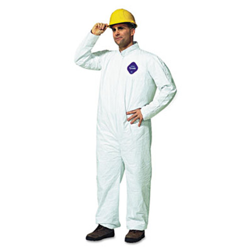 DuPont Tyvek Coveralls  Open Wrist Ankle  HD Polyethylene  White  Large  25 Carton (DUP TY120SL)