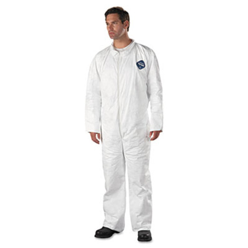 DuPont Tyvek Coveralls  Open Wrist Ankle  HD Polyethylene  White  X-Large  25 Carton (DUP TY120SXL)