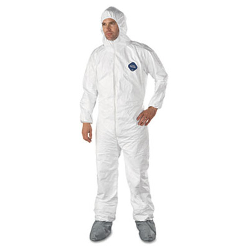 DuPont Tyvek Elastic-Cuff Hooded Coveralls w/Boots, White, Large, 25/Carton (DUP TY122SL)