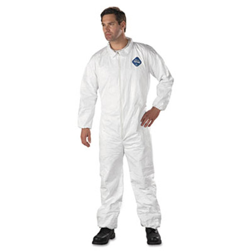 DuPont Tyvek Elastic-Cuff Coveralls, HD Polyethylene, White, Large, 25/Carton (DUP TY125SL)