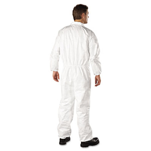 DuPont Tyvek Elastic-Cuff Coveralls  HD Polyethylene  White  Large  25 Carton (DUP TY125SL)