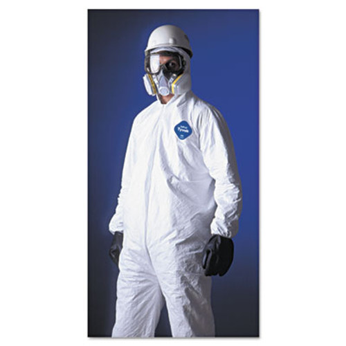 DuPont Tyvek Elastic-Cuff Hooded Coveralls  HD Polyethylene  White  Large  25 Carton (DUP TY127SL)