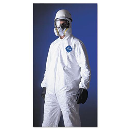 DuPont Tyvek Elastic-Cuff Hooded Coveralls  HD Polyethylene  White  Large  25 Carton (DUP TY127SL)