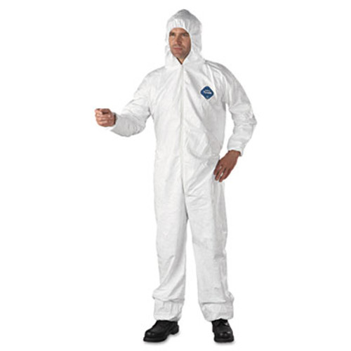 DuPont Tyvek Elastic-Cuff Hooded Coveralls, HD Polyethylene, White, X-Large, 25/Carton (DUP TY127SXL)