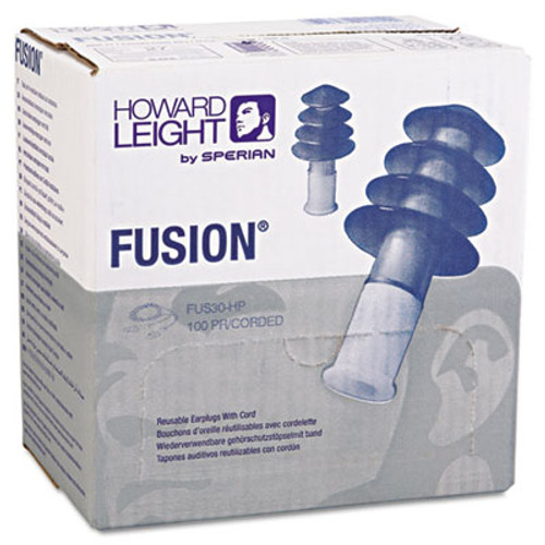 Howard Leight by Honeywell FUS30 HP Fusion Multiple-Use Earplugs, Reg, 27NRR, Corded, BE/WE, 100 Pairs (HOW FUS30HP)