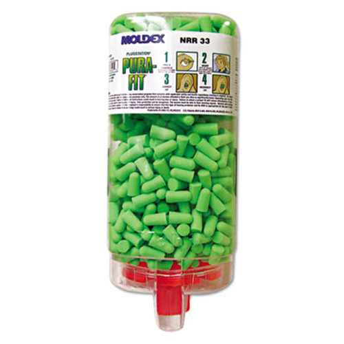 Moldex Pura-Fit PlugStation Earplug Dispenser  Cordless  33NRR  Bright Green  500 Pairs (MLX 6845)