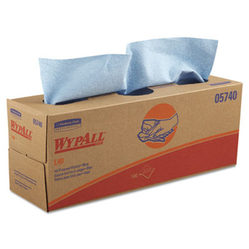 WypAll L40 Towels  POP-UP Box  Blue  16 2 5 x 9 4 5  100 Box  9 Boxes Carton (KCC 05740)