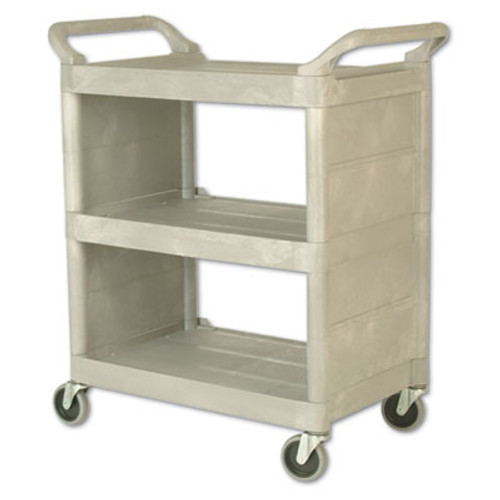 Rubbermaid Commercial Utility Cart  300-lb Capacity  Three-Shelf  32w x 18d x 37 5h  Platinum (RCP 3355-88 PLA)